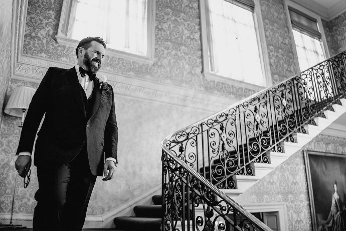 groom on staircase