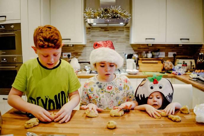 the kids making christmas stuff