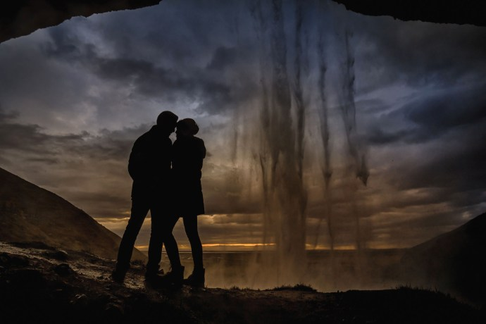 iceland wedding photos, waterfall silhouette