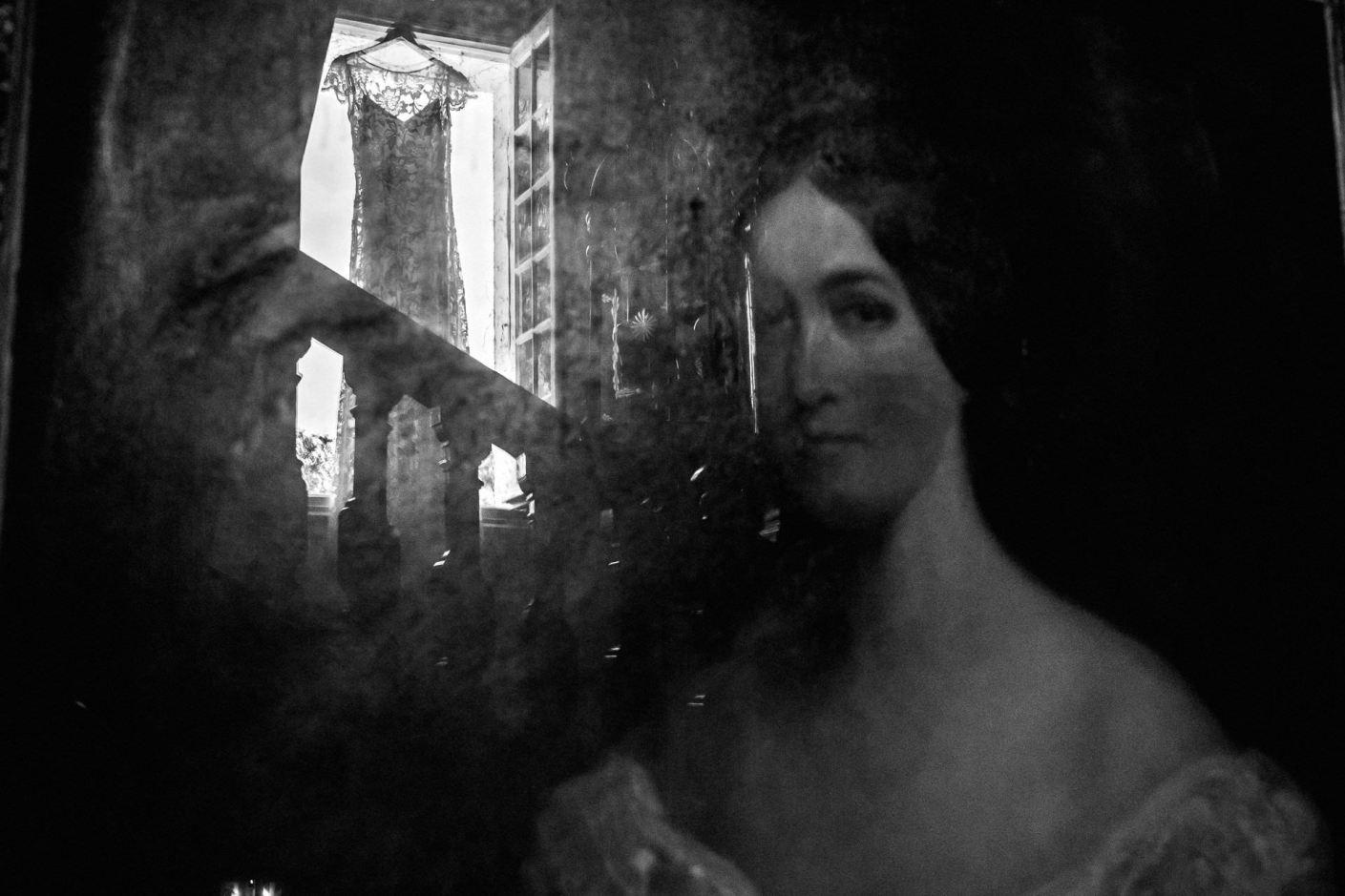 reflection photo of wedding dress