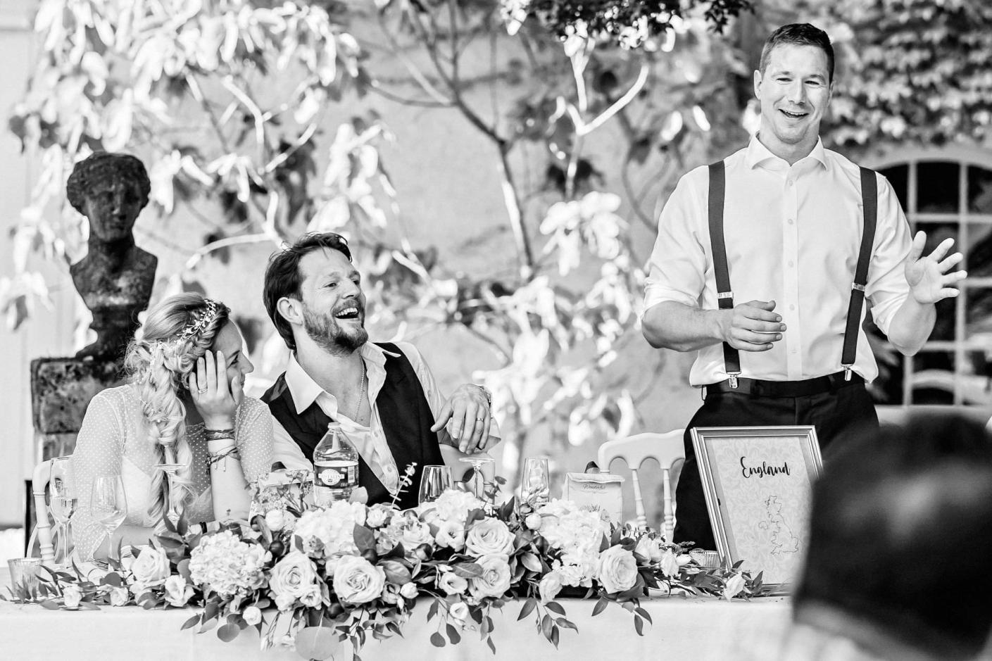 laughter during the toasts