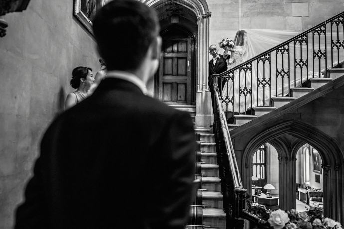 documentary wedding photography at ashridge, bride arriving