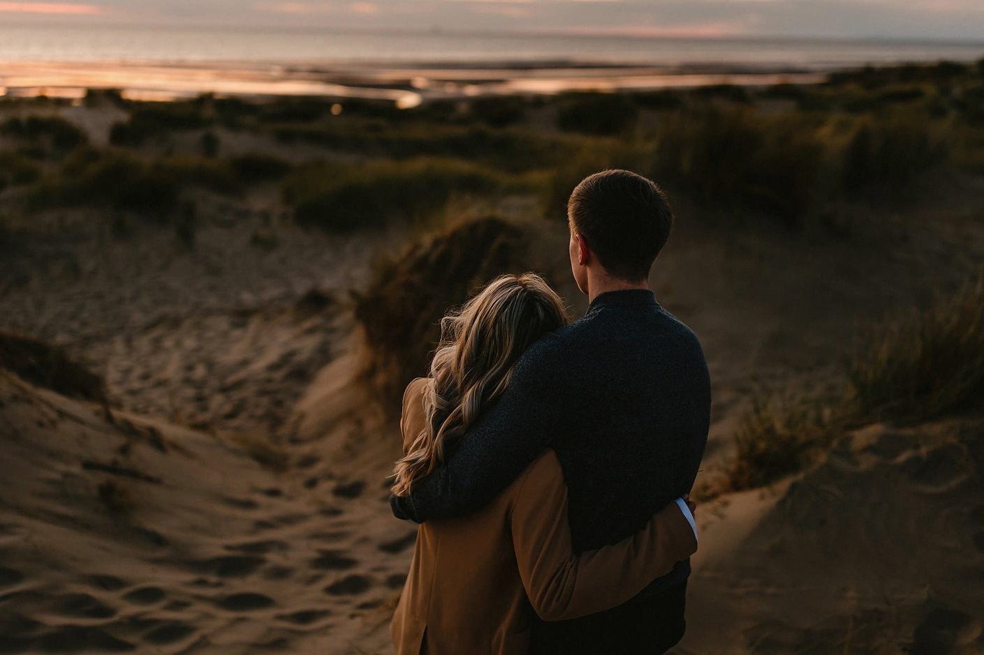 looking out to sea, engagement photography