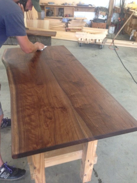 Lower desk top with a fresh coat of poly