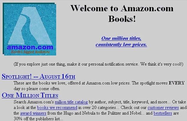 amazon.com Startseite von 1995