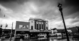 downtown Fort Payne Alabama on a stormy day