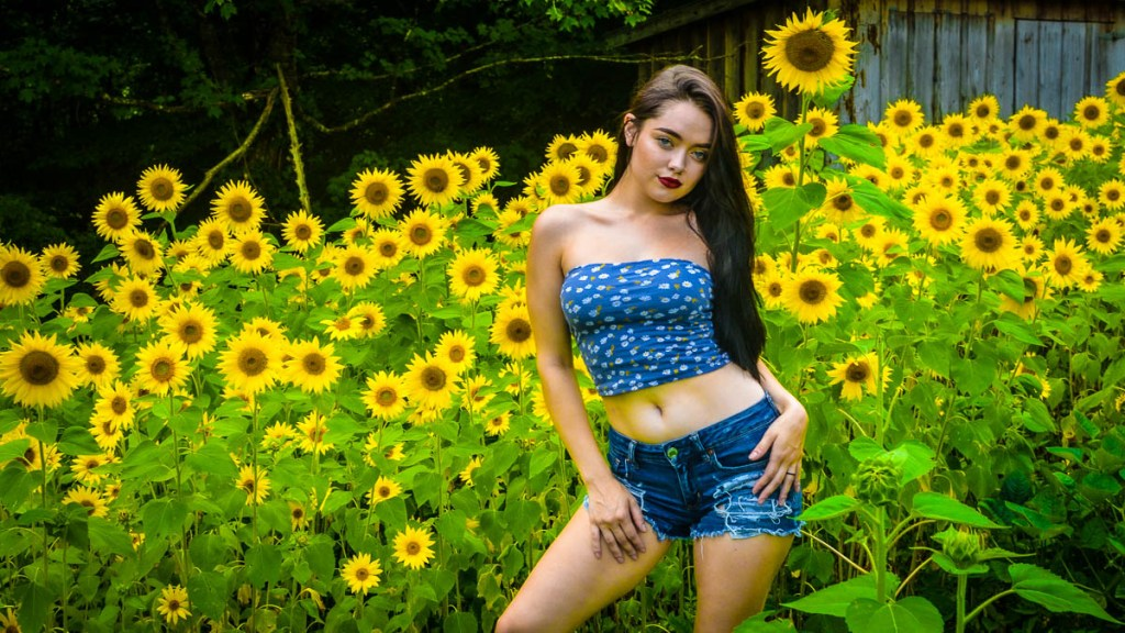 Model in sunflower field