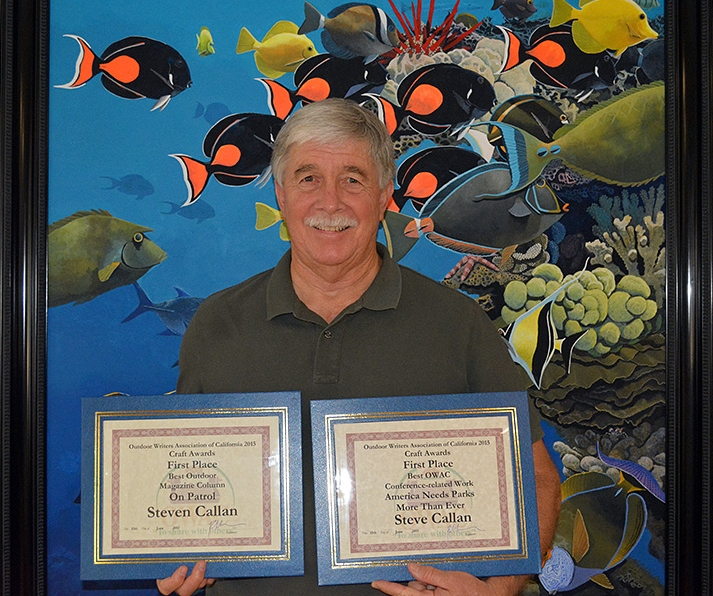 "Award-winning author Steven T. Callan with his 2015 ""Best Outdoor Magazine Column"" and ""Best Conference-Related Work"" awards from the Outdoor Writers Association of California"