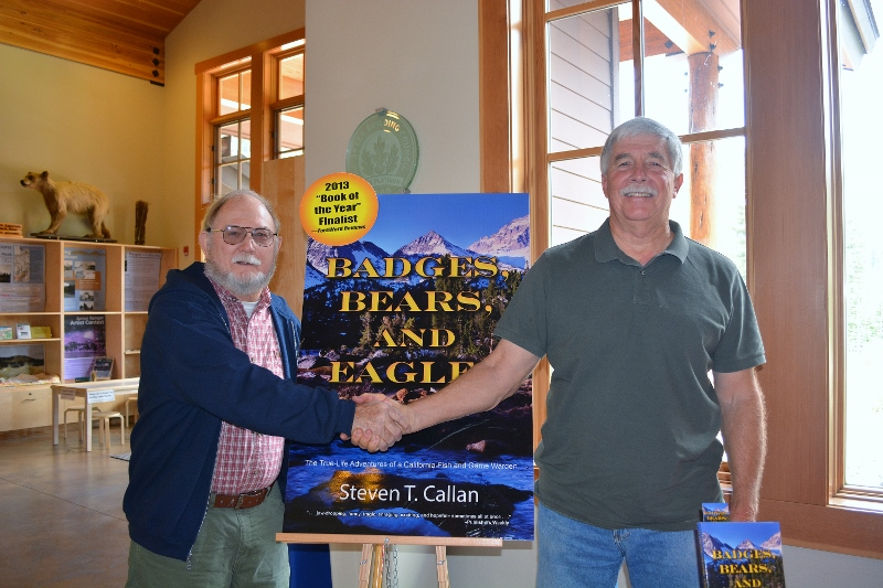Author Steven T. Callan at Lassen Volcanic National Park for Badges, Bears, and Eagles book signing