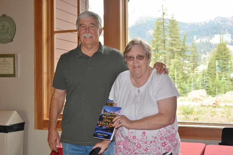Author Steven T. Callan at Lassen Volcanic National Park for the Badges, Bears, and Eagles book signing