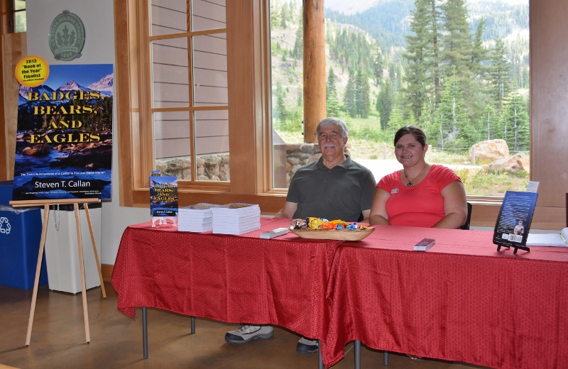 Author Steven T. Callan and Melanie Allen, president of the Lassen Association, at the Lassen Volcanic National Park book signing for Badges, Bears, and Eagles