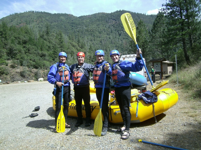 Ron Erskine, Steven T. Callan, Jack Eidt, and John DeGrazio prepare to run the rapids on the MIddle Fork American River. Photo by Kathy Callan.