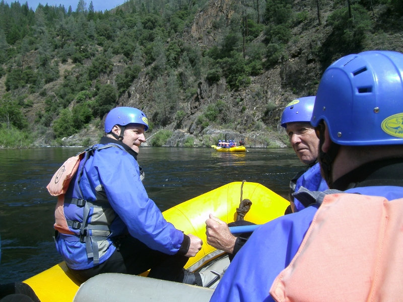 Jack and Ron preparing for our first rapids on the Middle Fork American River. Photo by author Steven T. Callan.