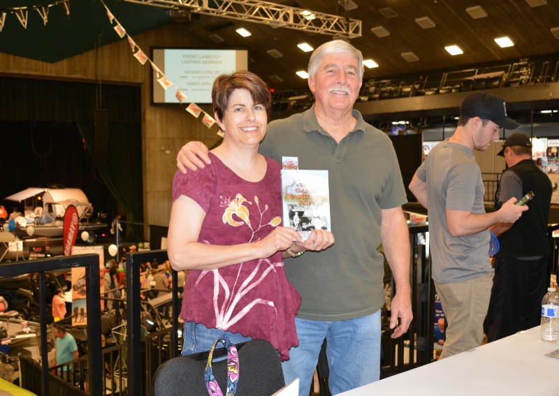 Author Steven T. Callan and friend at a book signing for his new book, The Game Warden's Son, at the Redding Sportsman's Expo, April 1, 2017