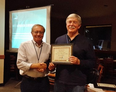 """Author Steven T. Callan receives the """"Best Outdoor Book of 2016"""" award, from the Outdoor Writers Association of California, for his sequel, The Game Warden's Son."""