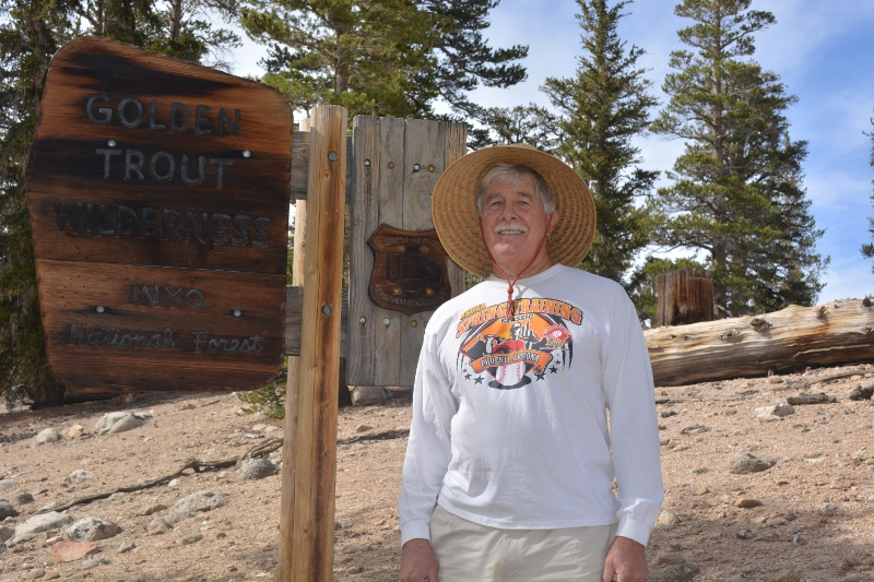 The author stands at the gateway to the Cottonwood Lakes and Golden Trout Wilderness. Photo by Kathy Callan.