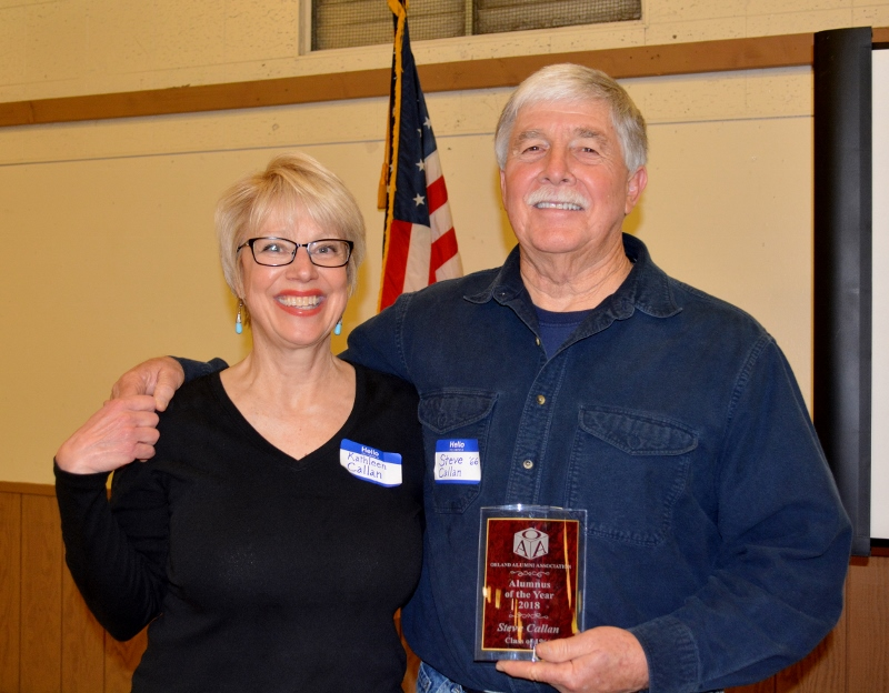 "Kathy Callan and author Steven T. Callan with his ""Alumnus of the Year"" award at the Orland Alumni Association Awards Dinner."