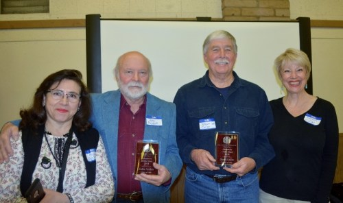 Rocio Nesbitt, author John D. Nesbitt, author Steven T. Callan, and Kathy Callan at the Orland Alumni Association Awards Dinner.
