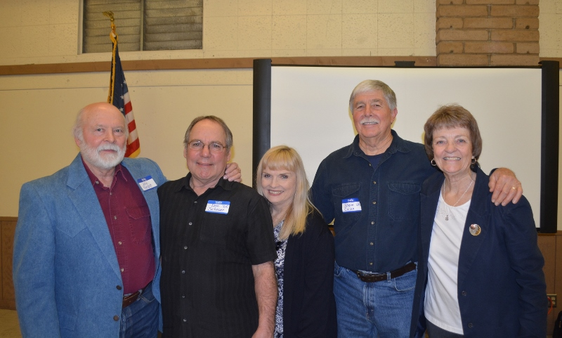 Author John D. Nesbitt, Don Schroer, OAA Vice President Linda Schroer, Author Steven T. Callan, and OAA Secretary Kathy Congdon at the Orland Alumni Association Awards Dinner.