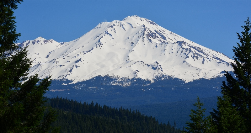 Majestic Mount Shasta as it appears from Castle Crags State Park.