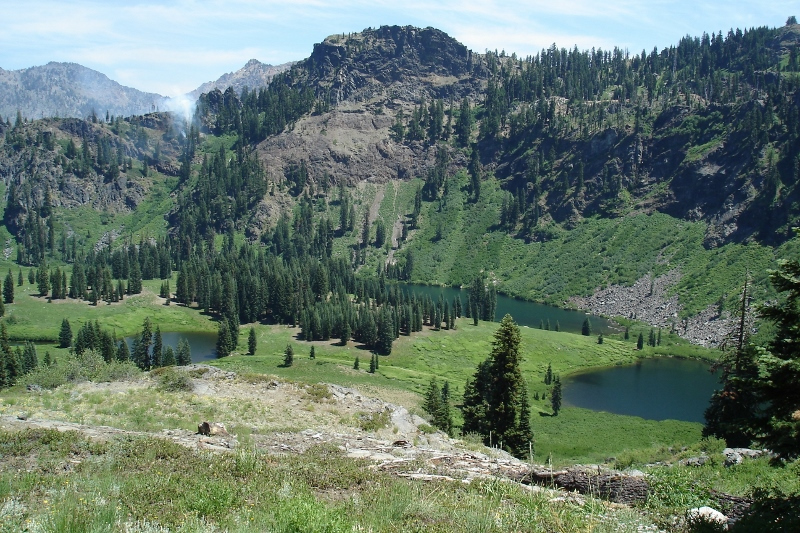 The Marble Mountain Wilderness contains eighty-nine lakes, including Frying Pan, Lower Sky High, and Upper Sky High lakes.