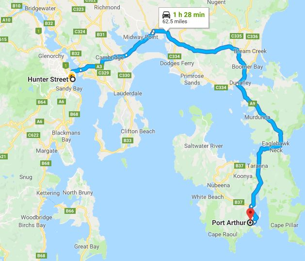 hobart to port arthur