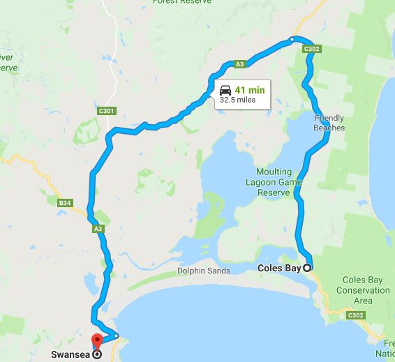 freycinet national park to swansea