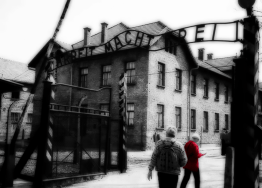 "Photo of the original ""Arbeit Macht Frei"" gate at Auschwitz I, the main camp. 18-April-00"