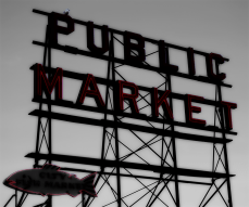 Photo of Seattle's Pike Place Market marquee. | 2008.