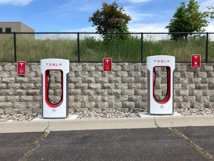 Tesla superchargers available for rapid charging at many locations.