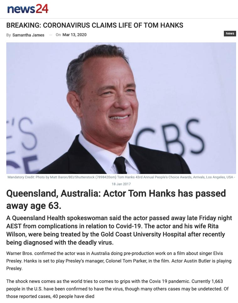 Where is Tom Hanks today? Is Tom Hanks dead? This newspaper article says Tom Hanks died from covid while in Australia.