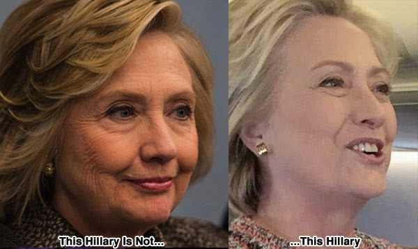 clones and look alikes in government and politics. Hillary Clinton also has multiple impersonators. There was the woman who impersonated her in the first Presidential debate, and another woman, far slimmer than the real Hillary, who impersonated her hours after the real Hillary was filmed fainting in public. Take a lot at the pics. Do you believe they are the same woman?