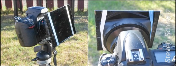 Welding glass filter held in-place with rubber bands.