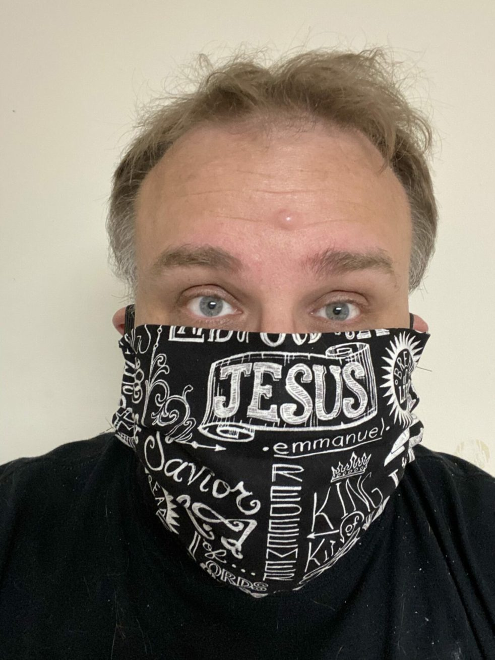 Jesus Mask I made - Wearing a face mask is not showing fear - It actually is the opposite. It shows your concern for others around you! #FaceMask