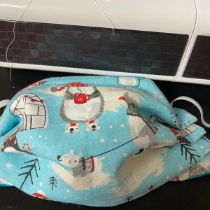 North Pole Face Mask - A Wintry themed face mask featuring a North Pole type of theme. #NorthPole