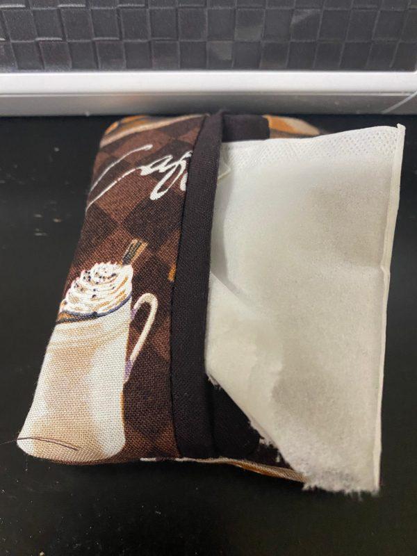 Coffee Pocket Tissue Holder - A Coffee-themed pocket tissue holder with coffee related items on the fabric. #Coffee