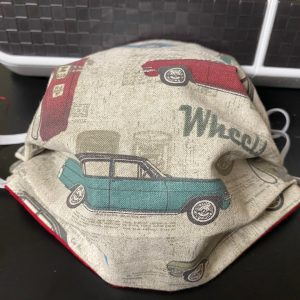 Vintage Cars Face Mask - a cool face mask with vintage cars and gas pumps on it. #VintageCars #AntiqueCars