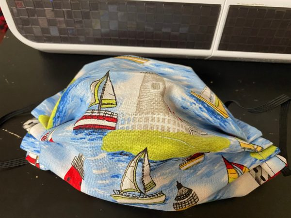 Sailboats and Lighthouses Face mask - a great nautical themed face mask with sailboats and lighthouses on it. #Lighthouses #Sailboats #Nautical