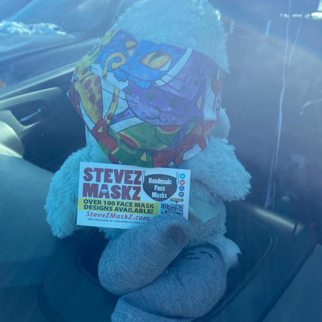 Meet All of the Lovies - These lovies, stuffed animals are the sales people for SteveZ MaskZ. When we go out and about and shopping for fabric and supplies they stay in the car with a business card and promote SteveZ MaskZ. Meet Lucas