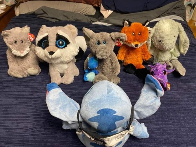 Meet All of the Lovees - These lovees, stuffed animals are the salespeople for Steve Sews Suff. When we go out and about and shopping