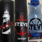 Nautical icon and name vinyls put onto cups