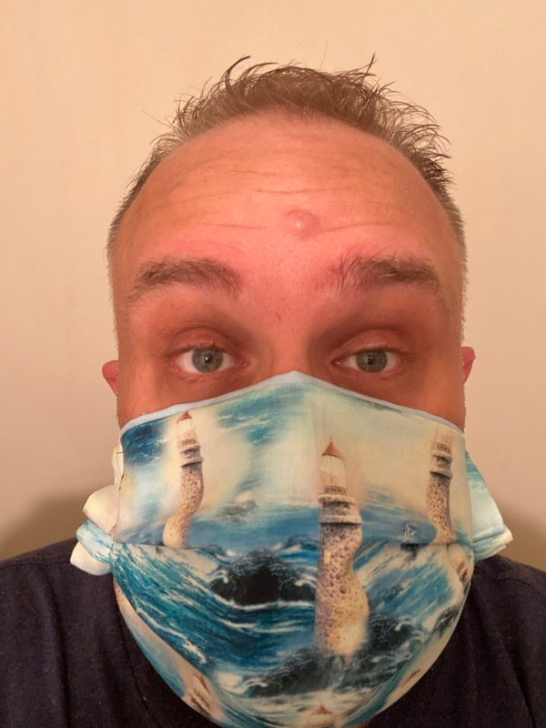 Lighthouse Face Mask - A Nautical face mask with lighthouses on it. #Nautical #Lighthouse #Lighthouses