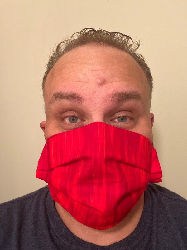 Red Pattern Face Mask - this face mask is red with various shades of red swirls and lines. #Red