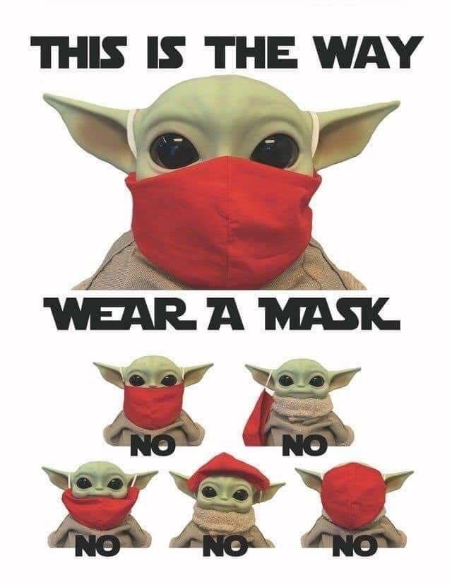 Grogu aka Baby Yoda shared the way to wear a face mask and the way not too wear a face mask. #facemask #babyyoda #grogu 