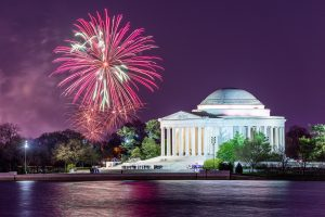 Washington DC at Jefferson Memorial with fireworks.