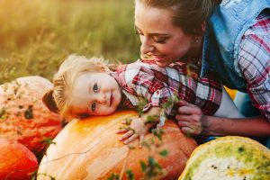 Gratitude - Mother and Baby With Pumpkin