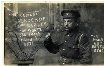 A propaganda postcard printed after the raids alleged to show part of the bomb that killed Percy Goate.