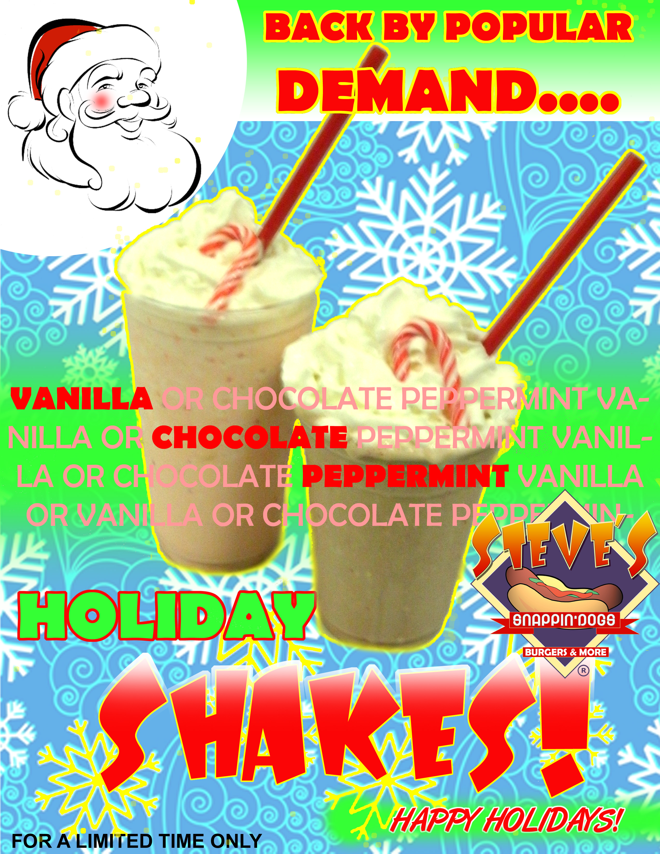 This Month's Featured Shake: Chocolate or Vanilla Peppermint