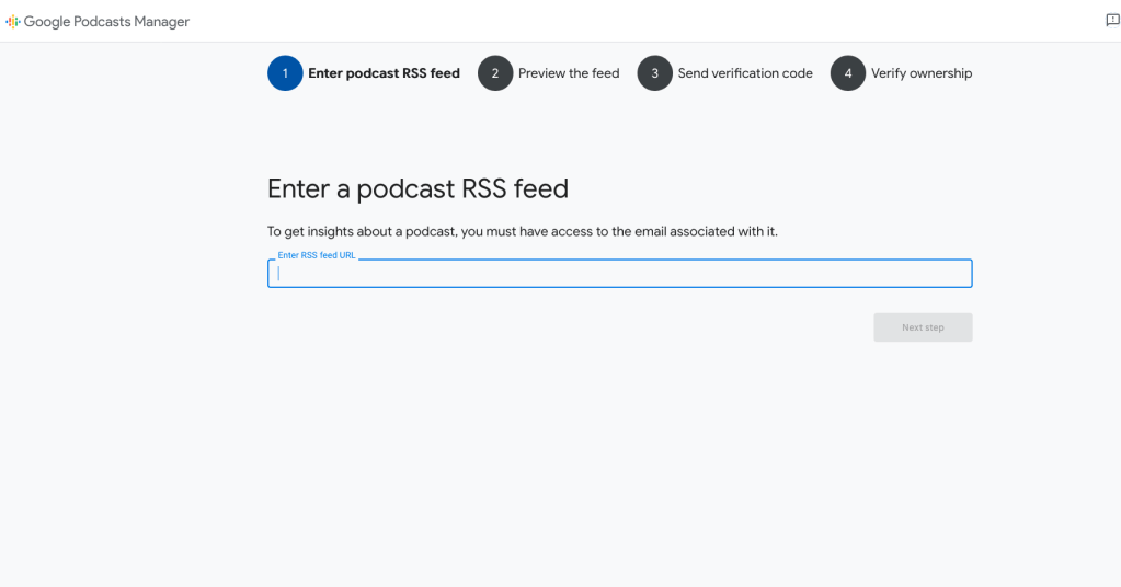 Submit podcast to Google step 1