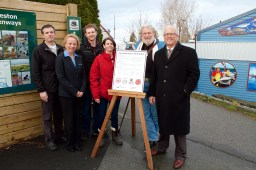 SHA Boar Chair, Robert Kiesman; City Councillor, Carol Day; SHA Operations Supervisor, Joel Baziuk; Gulf of Georgia Cannery Society Executive Director, Rebecca Clarke; Steveston Historical Society Chair, Loren Slye; and Mayor Malcolm Brodie at the unveiling of the mural project in December, 2015